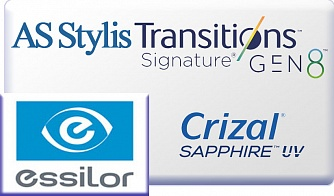 Essilor AS Stylis 1.67 Transitions VII Crizal Sapphire UV