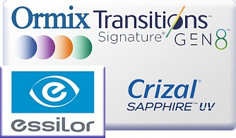 Essilor Ormix 1.6 Transitions Gen8 Crizal Sapphire UV