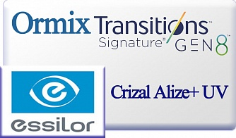 Essilor Ormix 1.6 Transitions Gen-8 Crizal Alize+ UV